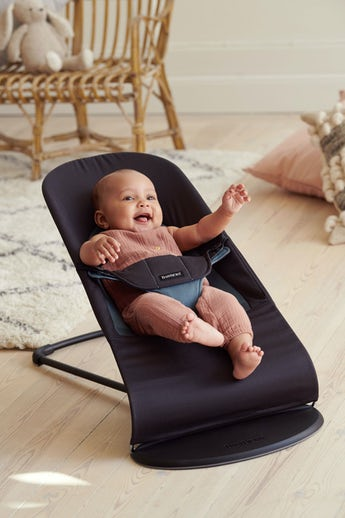 Baby Bouncer Balance Soft in Black Dark grey Cotton - BABYBJÖRN