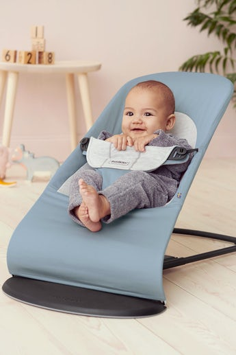 Bouncer Balance Soft Blue Grey Cotton Jersey - BABYBJÖRN