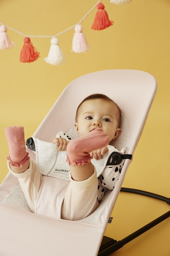Bouncer Balance Soft Light Pink Grey Cotton/Jersey - BABYBJÖRN