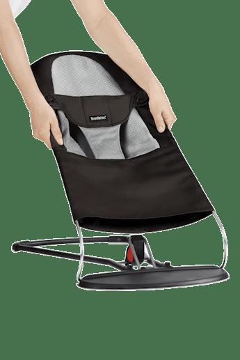 Fabric Seat for Bouncer Balance Soft Black Grey Mesh - BABYBJÖRN