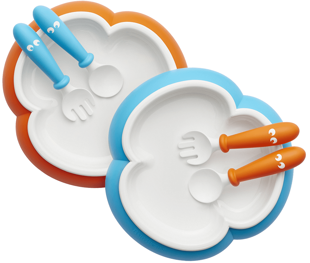 Baby Plate Spoon And Fork Orange Turquoise 074082