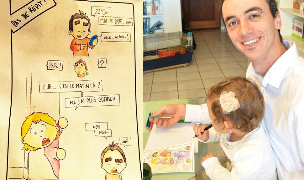 BABYBJÖRN Föräldramagasin – Pappabloggaren Pierre Bel ritar tillsammans med sin dotter.