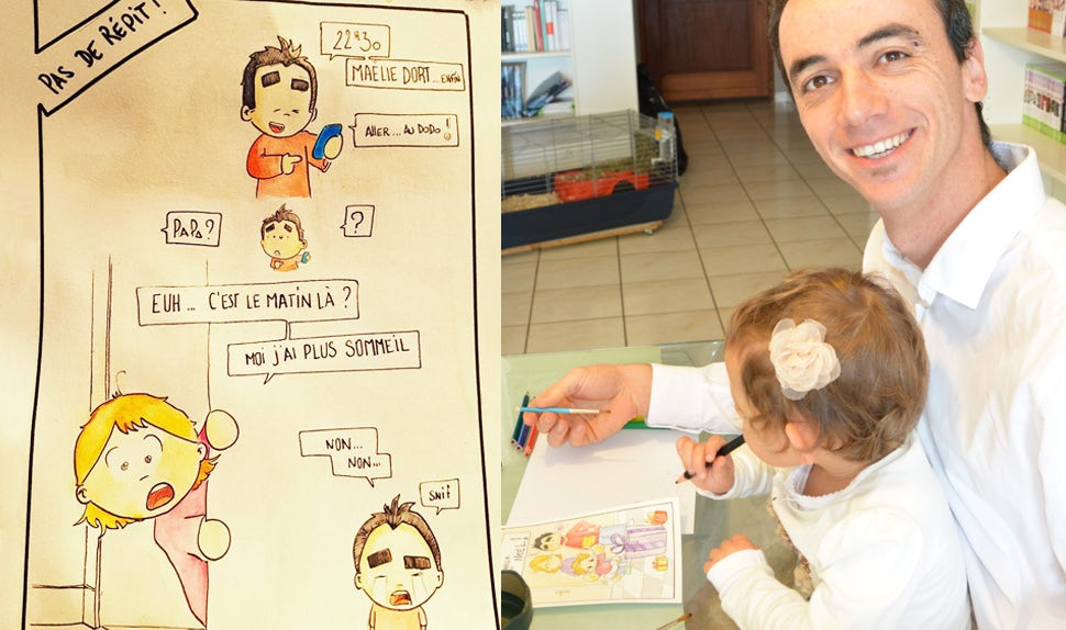 BABYBJÖRN Magazine – Daddy blogger and illustrator Pierre Bel, who offers some good advice for new parents, draws together with his daughter.