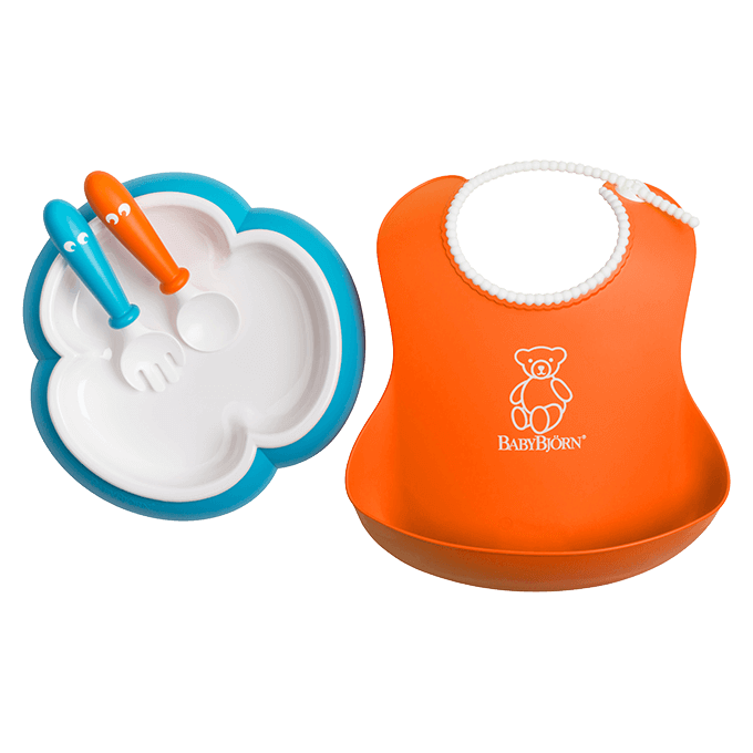 BABYBJÖRN Baby Feeding Set, Baby Plate, Spoon and Fork, Soft Bib, orange and turquoise, BPA-free plastic