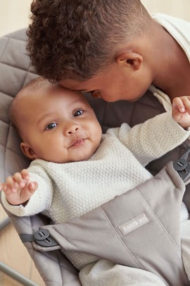 Bouncer Bliss Sand Grey Cotton - BABYBJÖRN