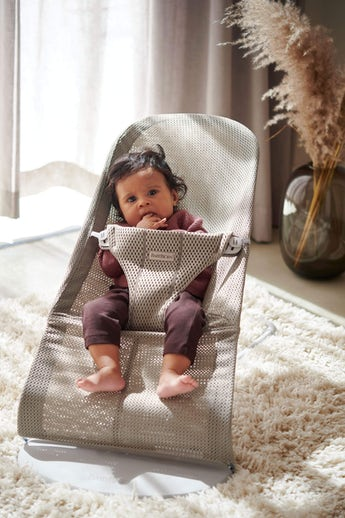 Bouncer Bliss in Grey Beige Mesh - cool and airy fabric that dries quickly