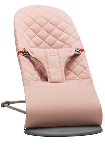 Bouncer Bliss in Dusty pink in soft quilted cotton with natural rocking without batteries