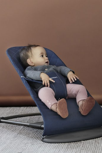 Baby Bouncer Bliss in Midnightblue soft quilted cotton - BABYBJÖRN