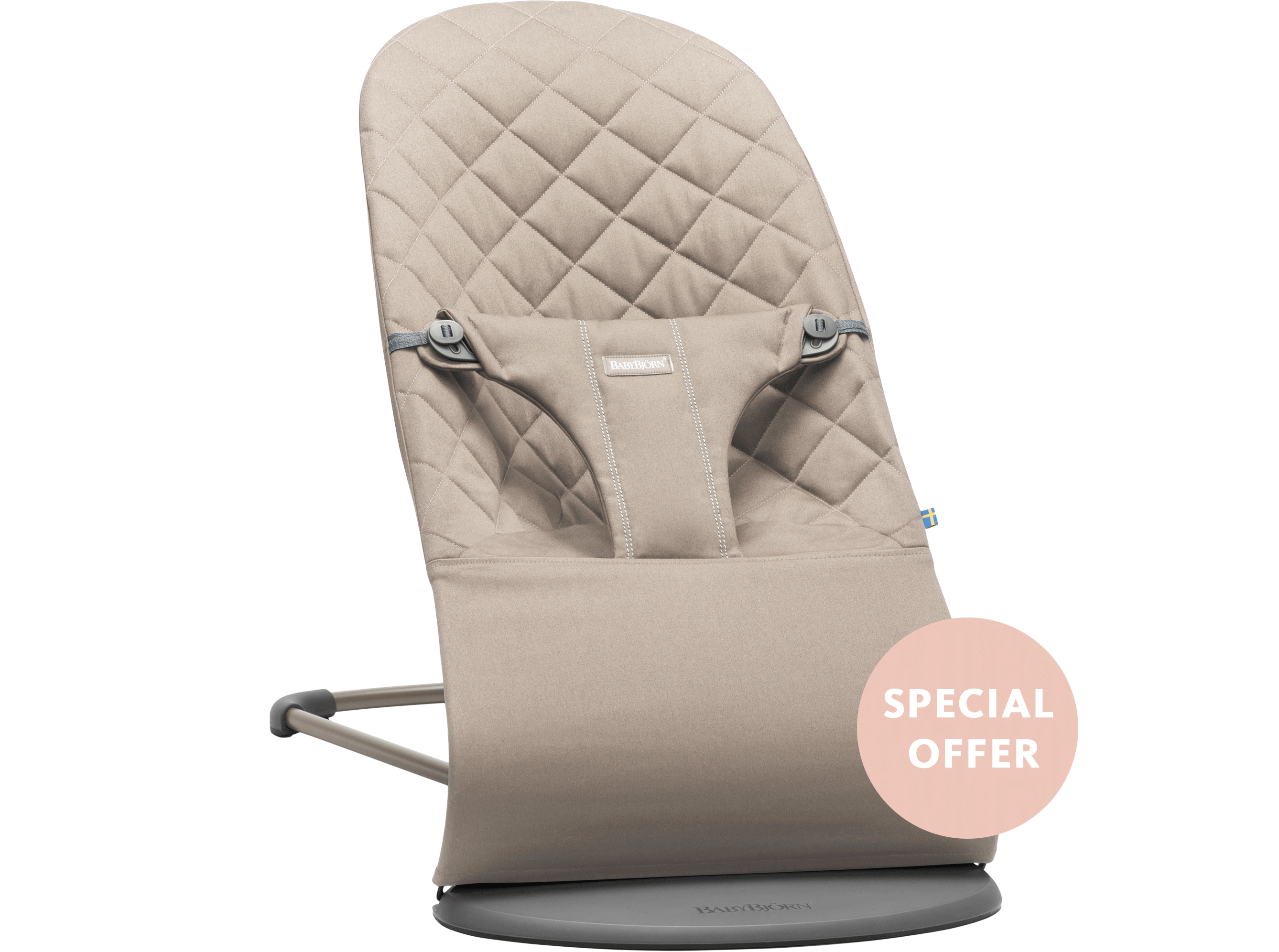 Bouncer Bliss Sand Gray Cotton Special-offer- BABYBJÖRN