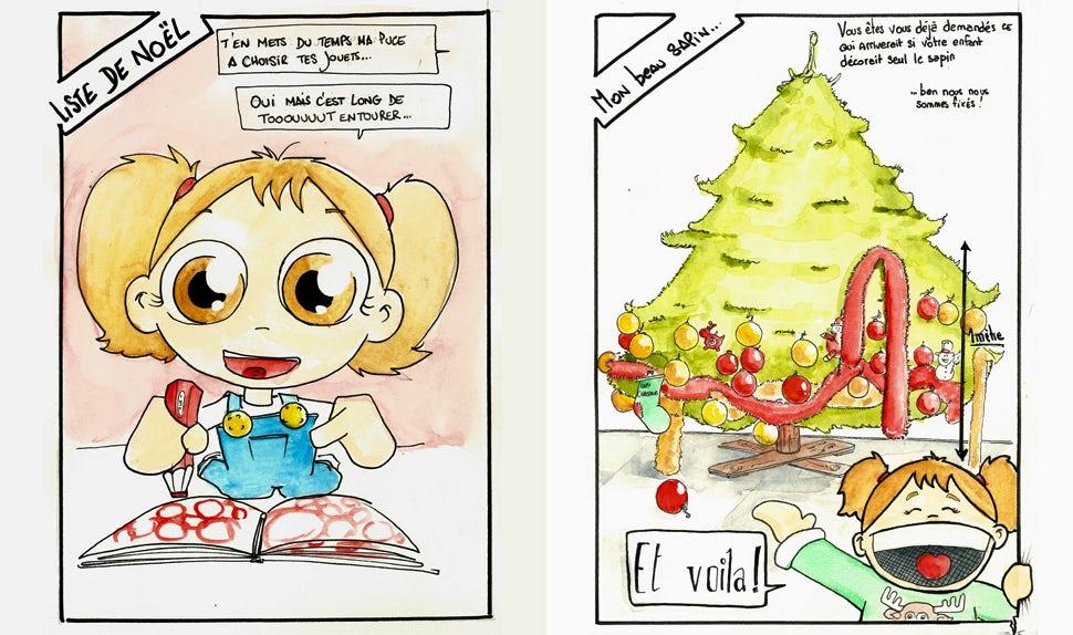 BABYBJÖRN Föräldramagasin – Tecknad bild på flicka som ringar in allt i leksakskatalogen.