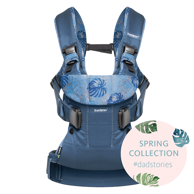 Baby Carrier One Dadstories Midnight blue Leaf print BABYBJÖRN