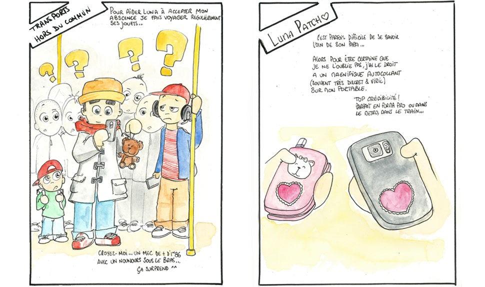 Revista BABYBJÖRN – Imágenes animadas de un padre haciéndose un selfie con un peluche en el metro y dos teléfonos móviles con las mismas pegatinas en forma de corazón.