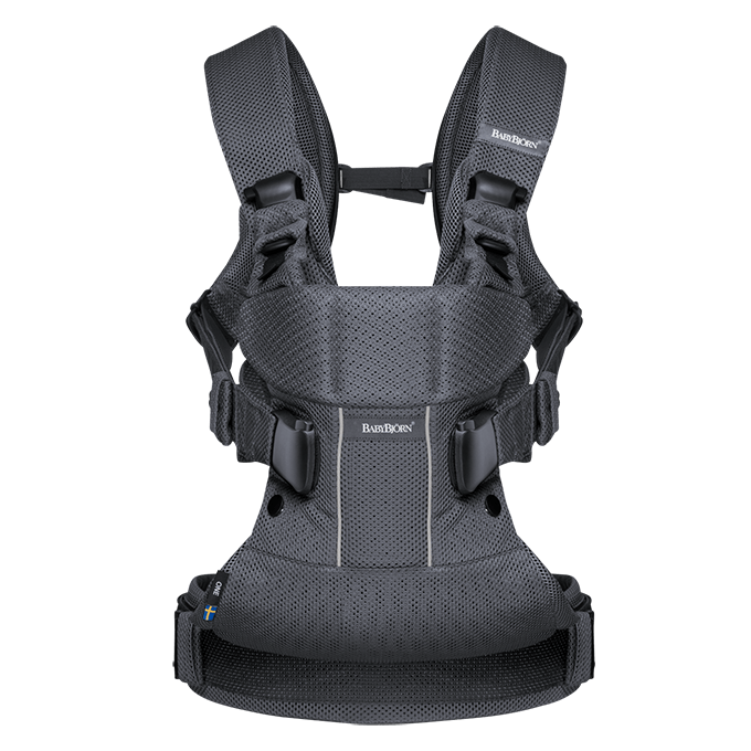Ergonomic Baby Carrier One in mesh fabric, Anthracite - BABYBJÖRN