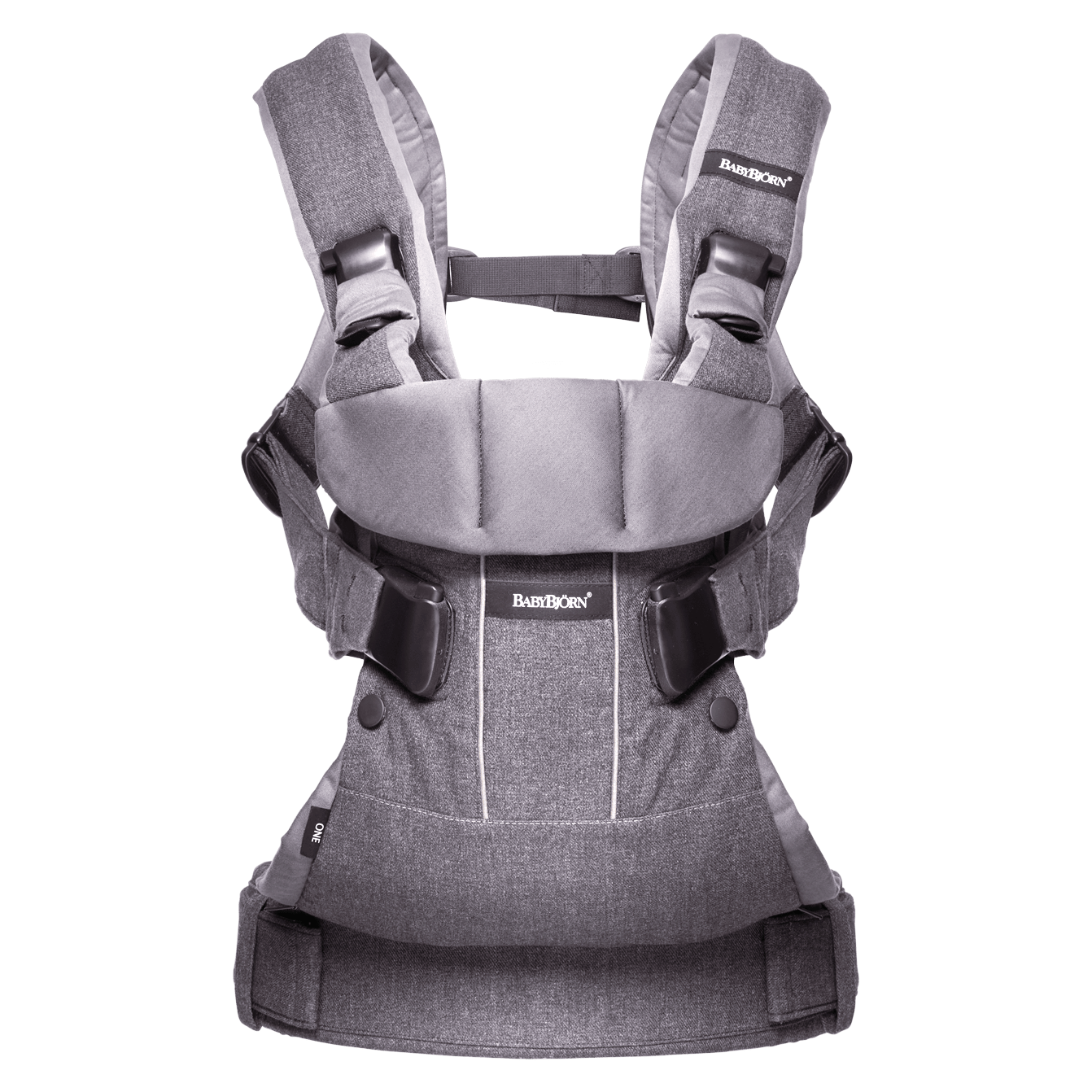 BABYBJÖRN Baby Carrier One in denim grey/dark grey cotton mix, an ergonomic baby carrier perfect for newborn up to 3 years.