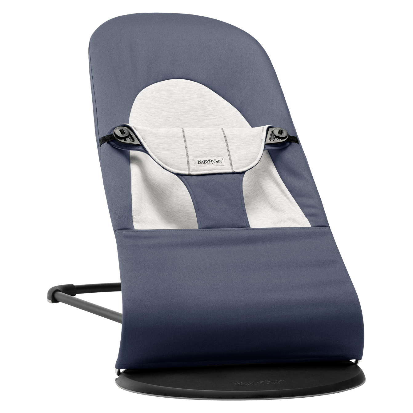 BABYBJÖRN Bouncer Balance Soft in fog blue and grey cotton jersey, an ergonomic and extra soft and cozy baby bouncer with gentle rocking.