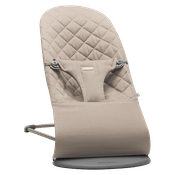 BABYBJÖRN Bouncer Bliss in sand-grey cotton, an ergonomic and cozy baby bouncer with gentle rocking.