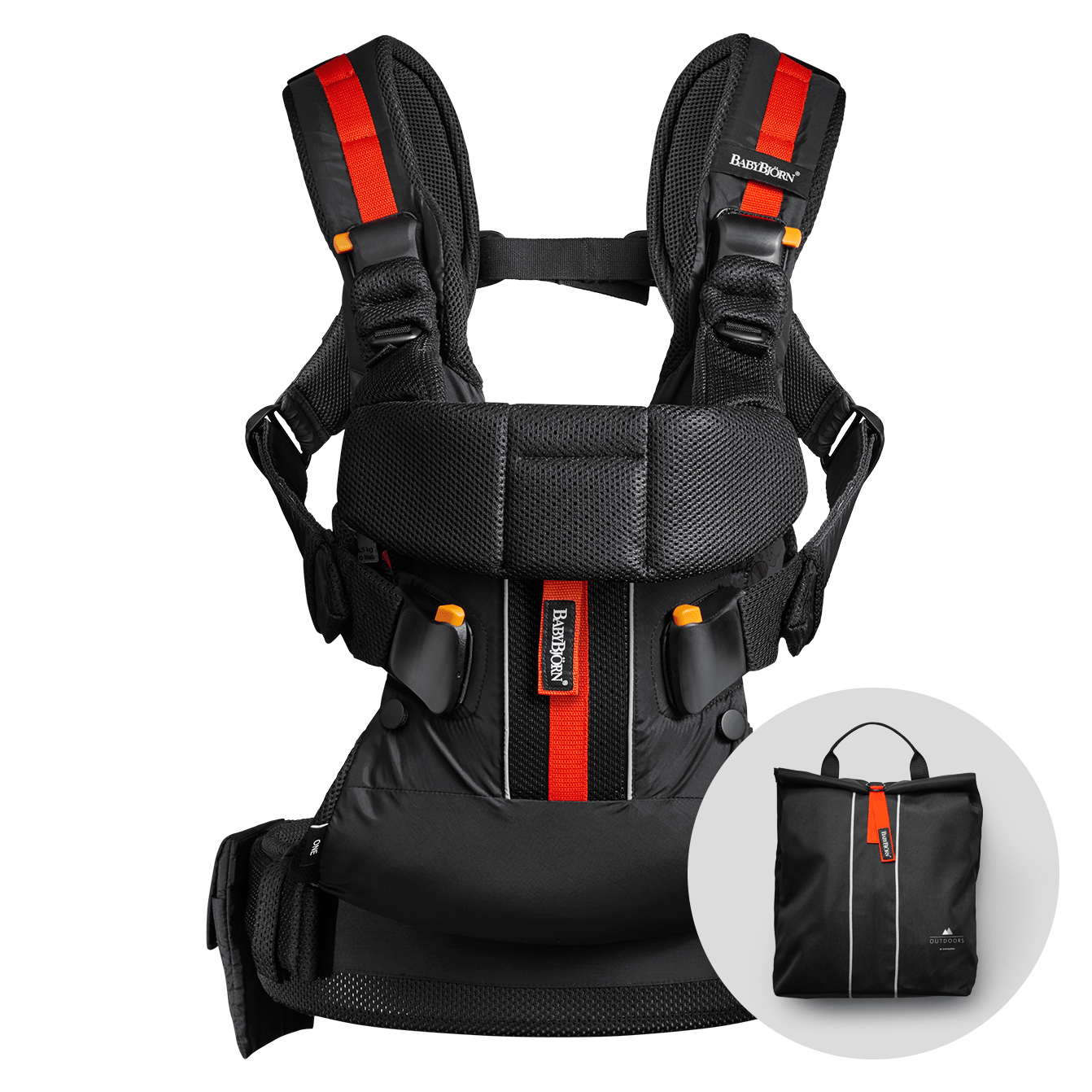 BABYBJÖRN Baby Carrier One Outdoors in black, perfect for an active life.