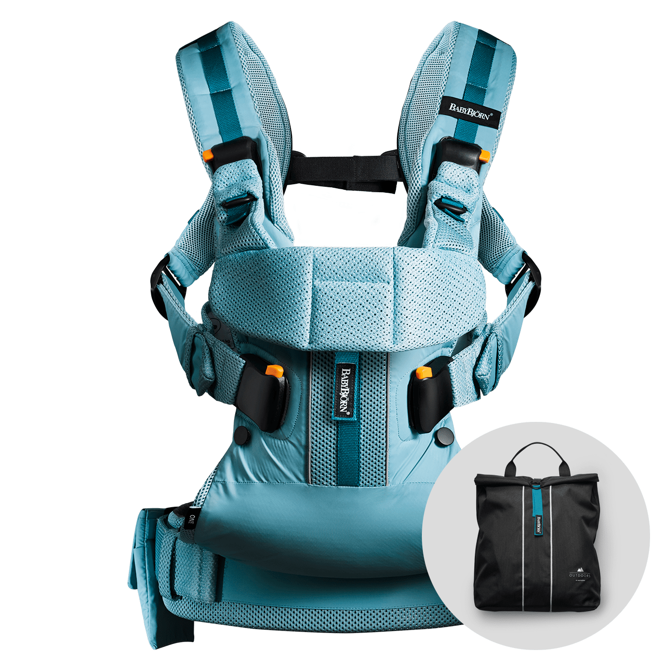 BABYBJÖRN Baby Carrier One Outdoors in turquoise, perfect for an active life.