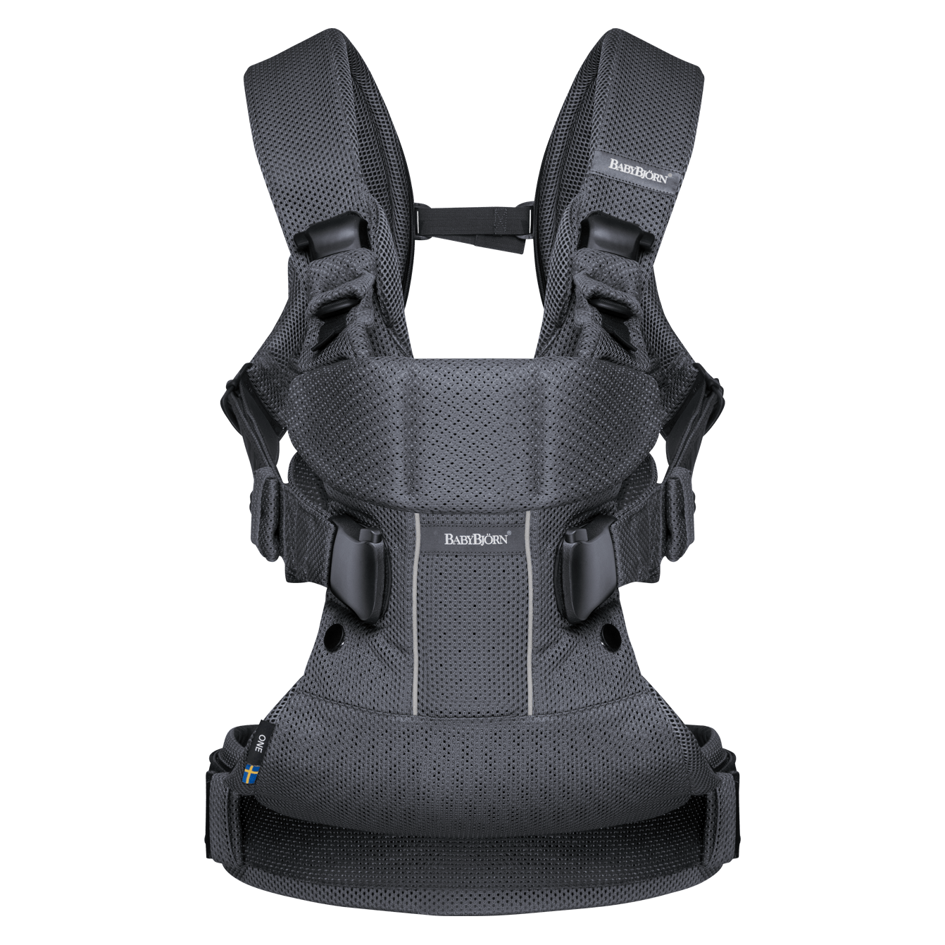 BABYBJÖRN Baby Carrier One Air in anthracite mesh, an ergonomic baby carrier perfect for newborn up to 3 years.