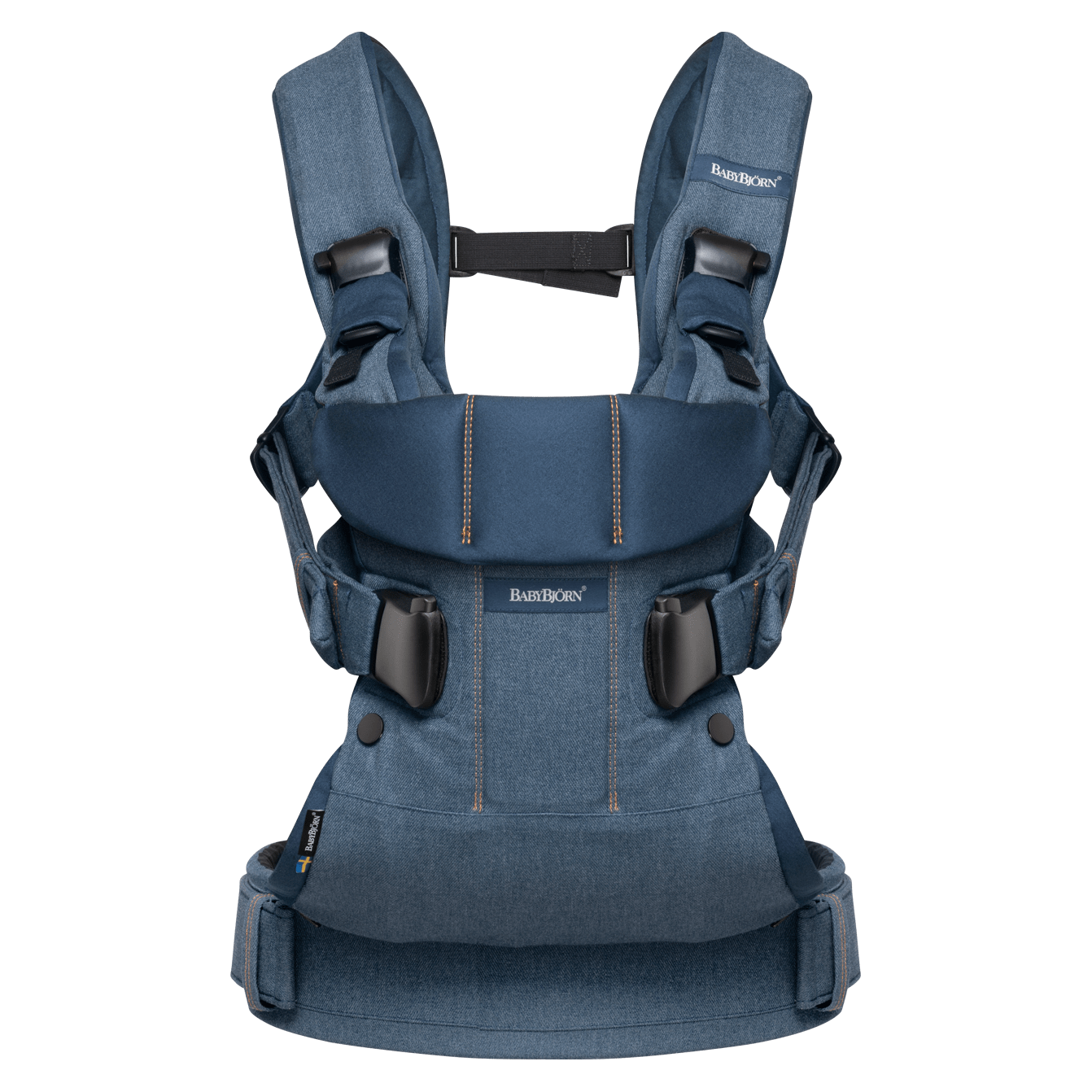 BABYBJÖRN Baby Carrier One in classic denim/midnight blue cotton mix, an ergonomic baby carrier perfect for newborn up to 3 years.