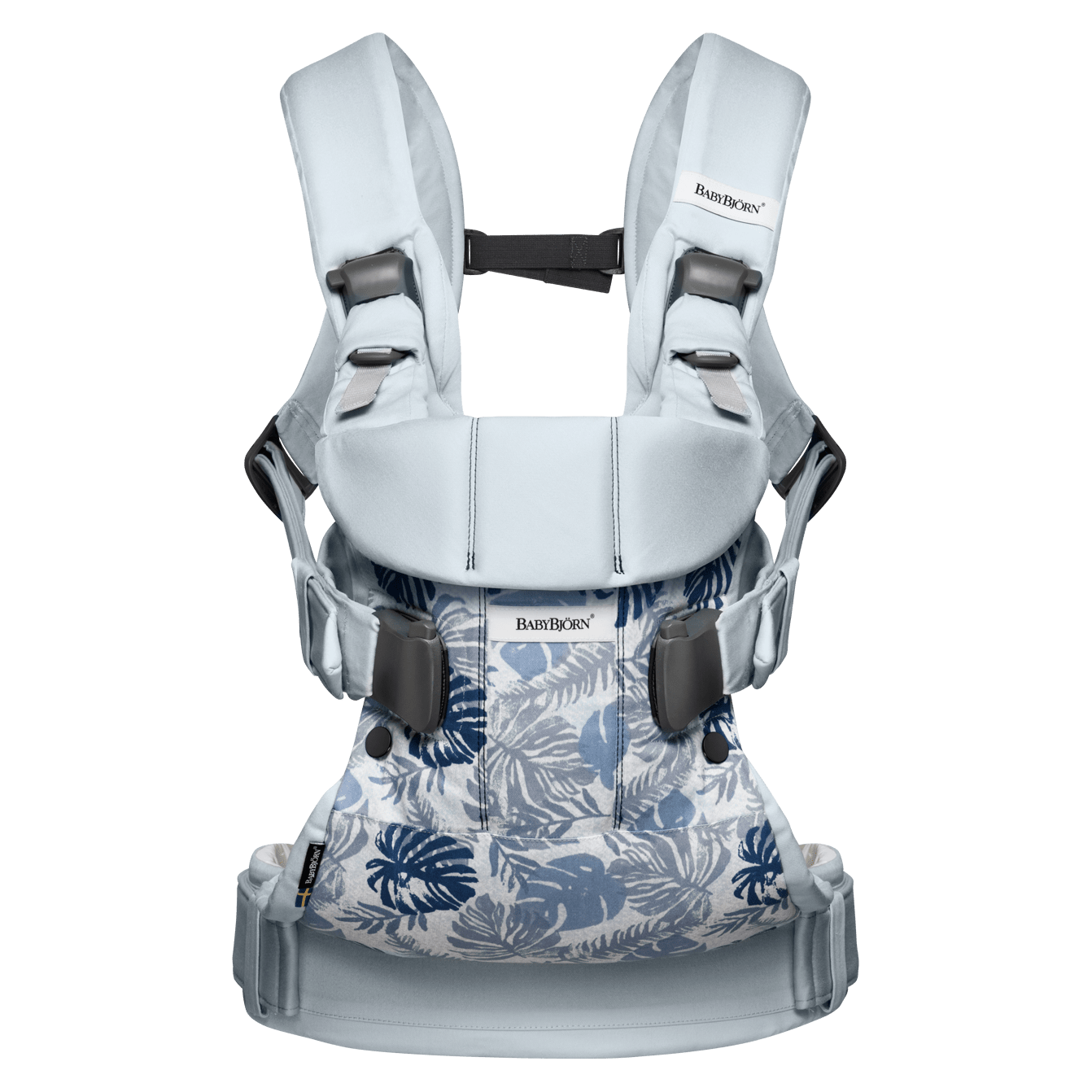 BABYBJÖRN Baby Carrier One in leaf print/pale blue cotton mix, an ergonomic baby carrier perfect for newborn up to 3 years.