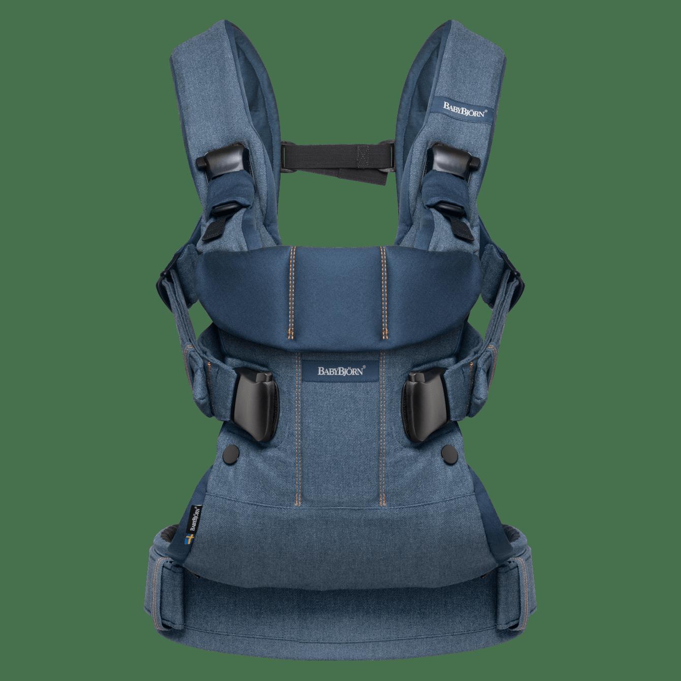 BABYBJÖRN Bärsele One Air i klassisk denim/midnattsblå cotton mix, en ergonomisk bärsele i för nyfödda och upp till 3 års ålder.