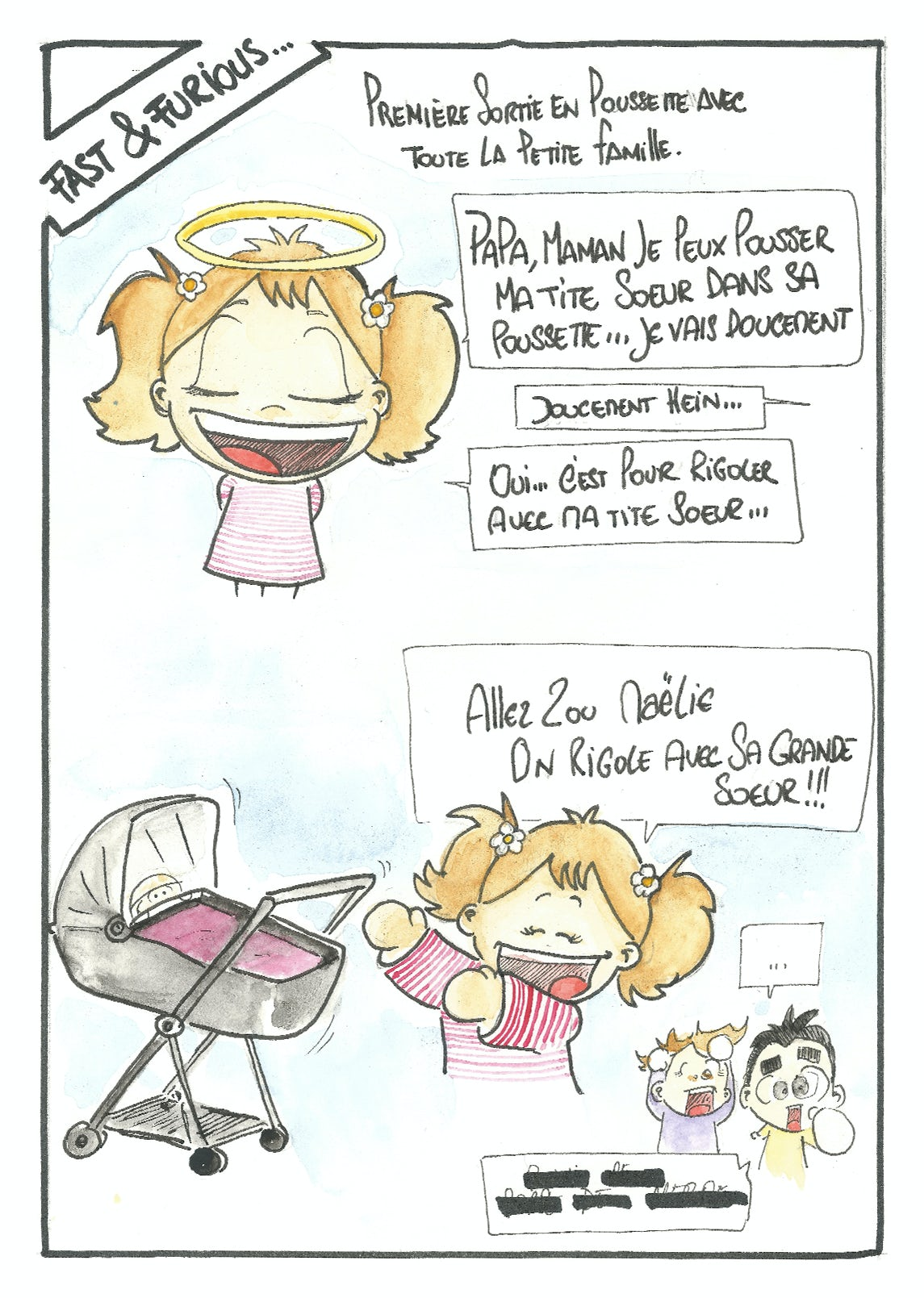 BABYBJÖRN Magazine – Sketch of big sister Luna, who promises to push her little sister around carefully in the stroller.