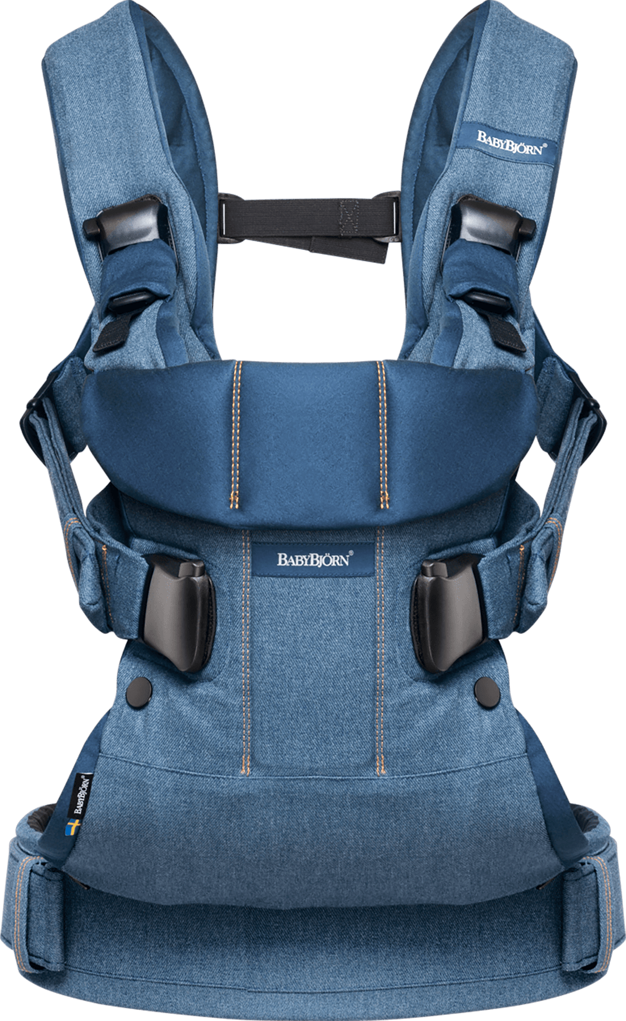 BABYBJÖRN Baby Carrier One in classic denim and midnight blue cotton mix, an ergonomic baby carrier perfect for newborn up to 3 years.