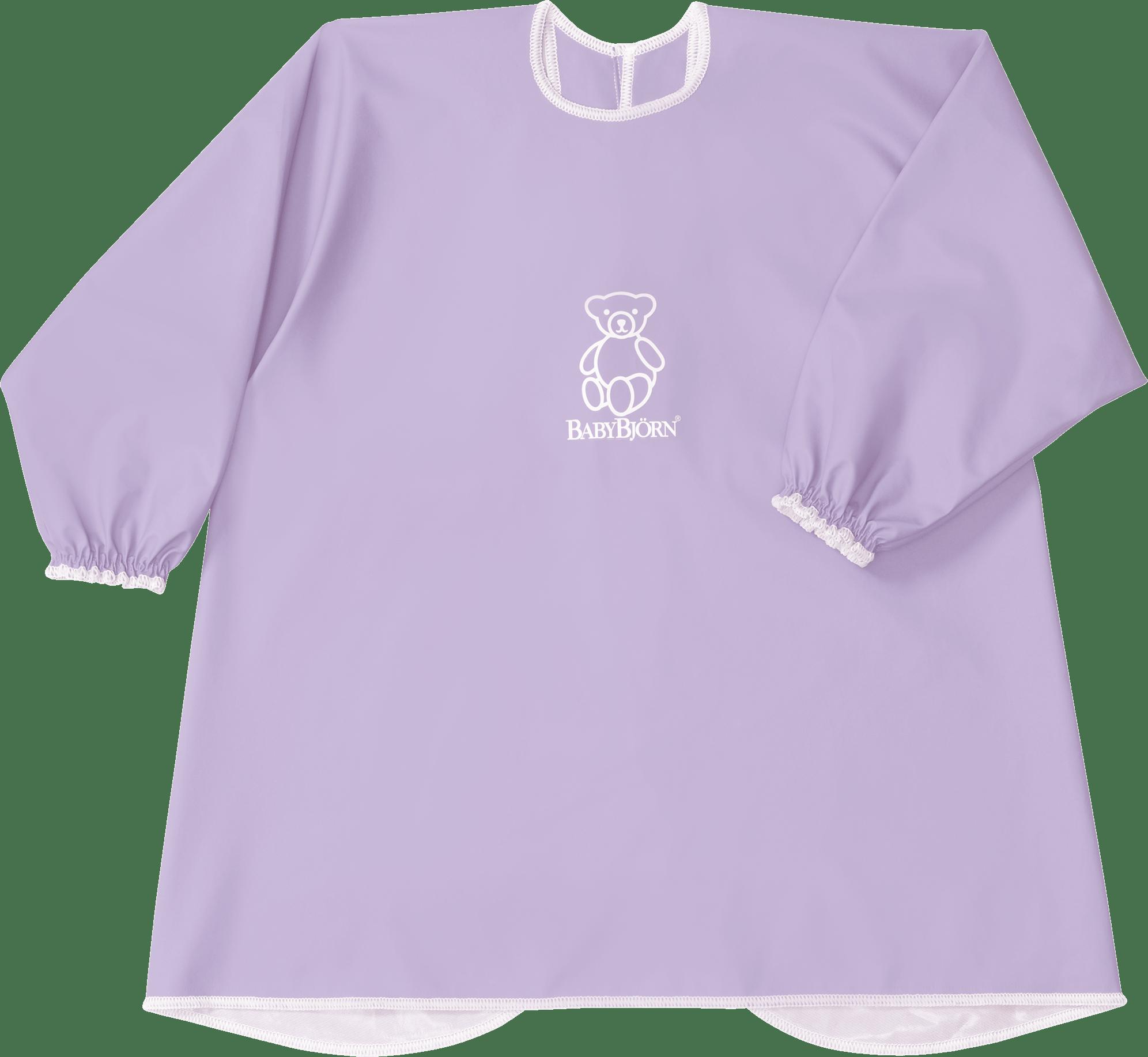 BABYBJÖRN Barnförkläde i lila BPA-fri plast, haklapp och förkläde i ett, skyddar både fram och bak.