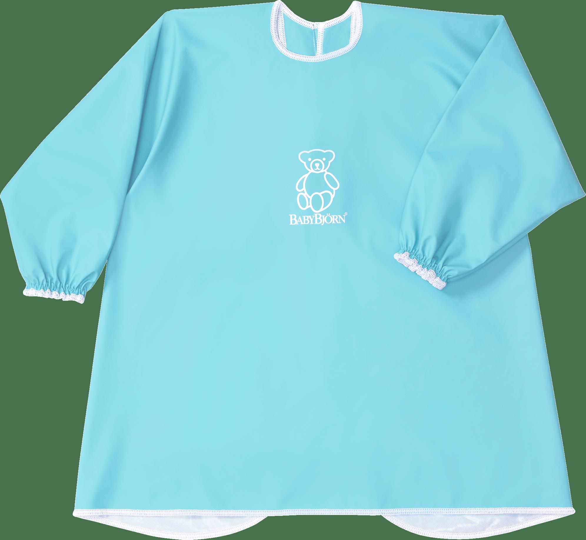BABYBJÖRN Barnförkläde i turkos BPA-fri plast, haklapp och förkläde i ett, skyddar både fram och bak.