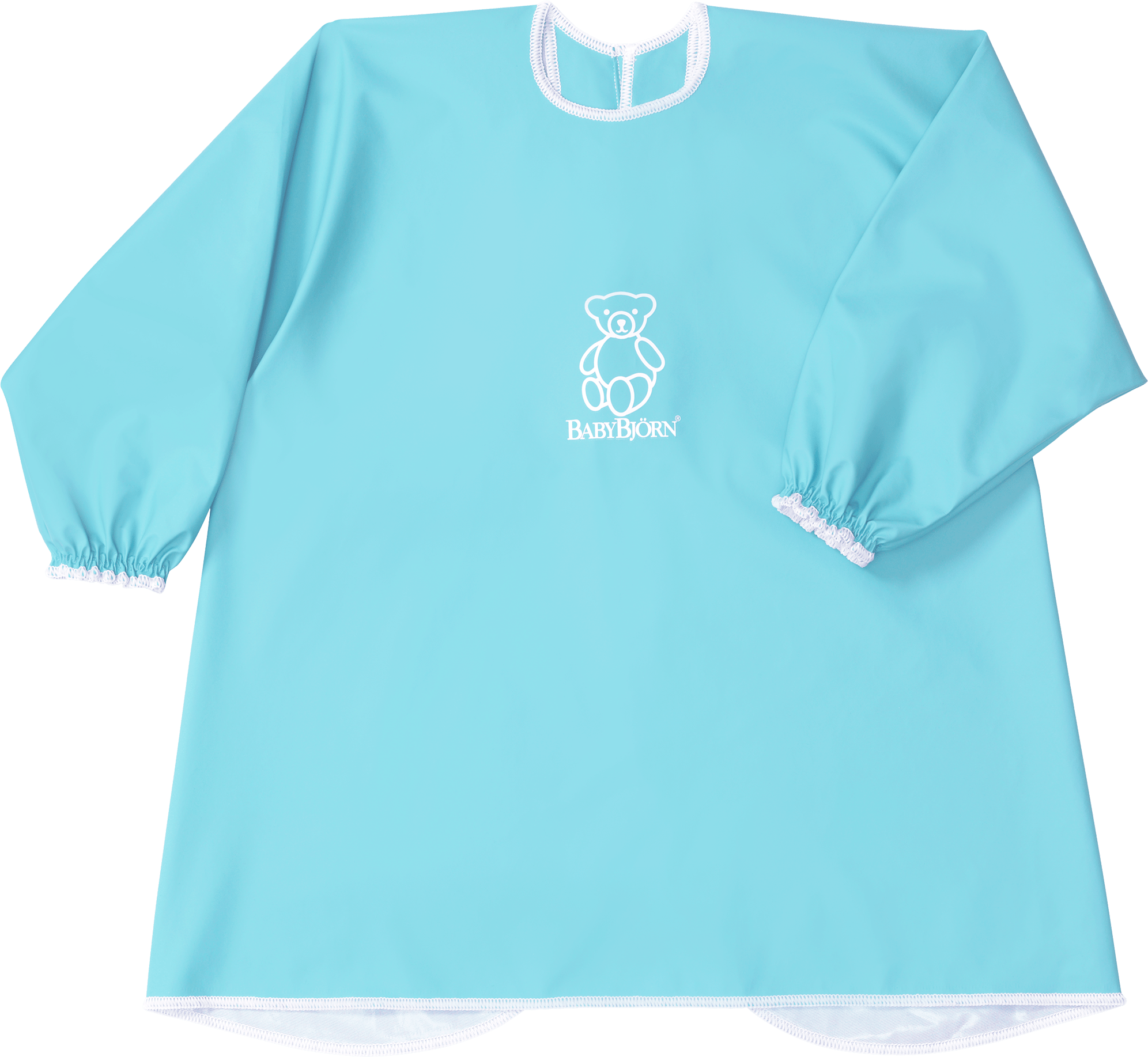 BABYBJÖRN Long Sleeve Bib in turquoise BPA-free plastic, bib and apron in one, covers both front and back.