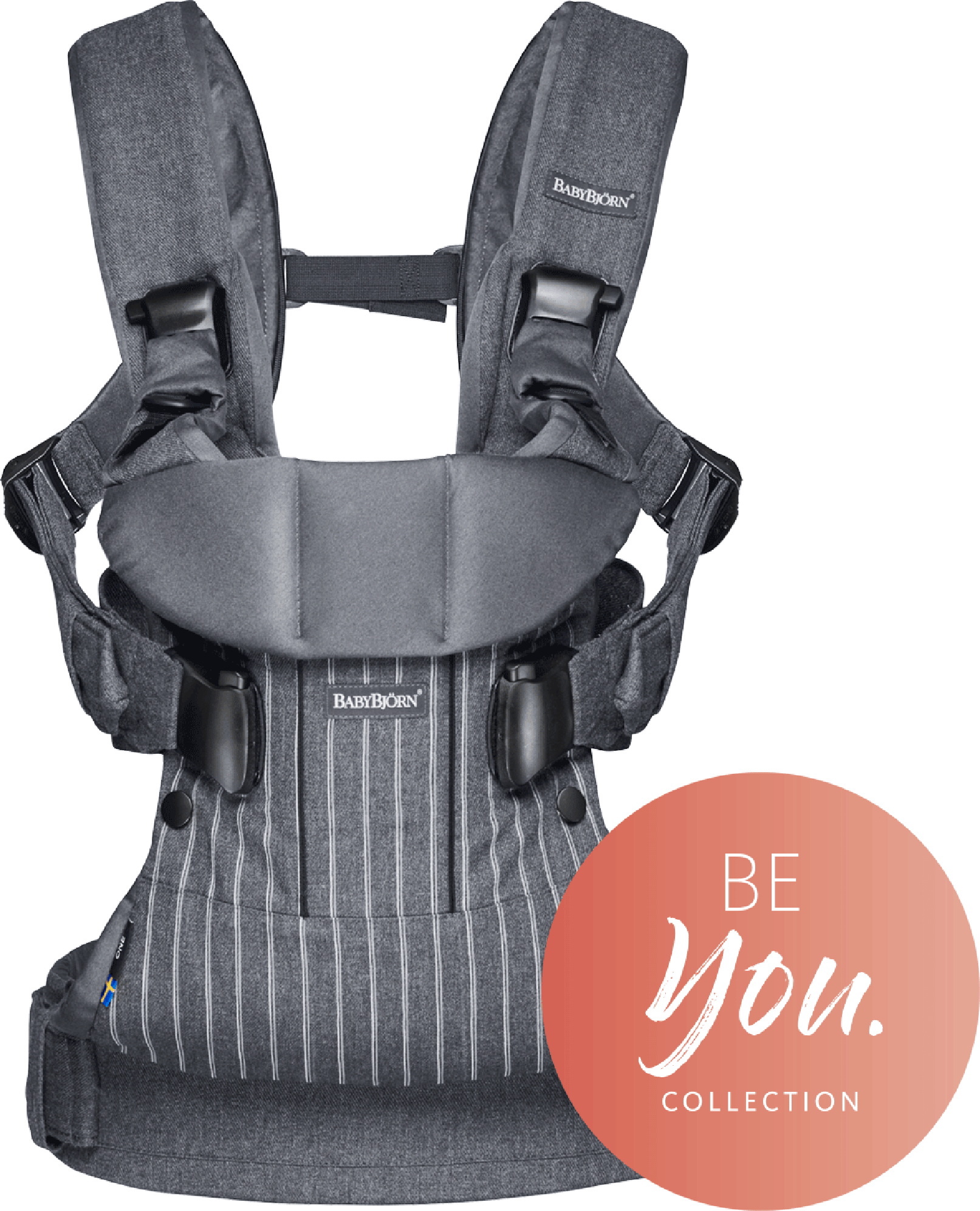 BABYBJÖRN Baby Carrier One in pinstripe grey cotton mix, an ergonomic baby carrier perfect for newborn up to 3 years.