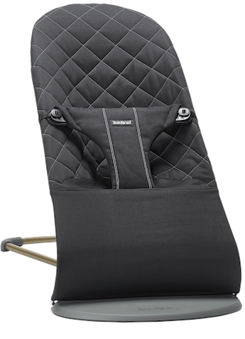 Bouncer Bliss in Black in soft quilted cotton with natural rocking without batteries