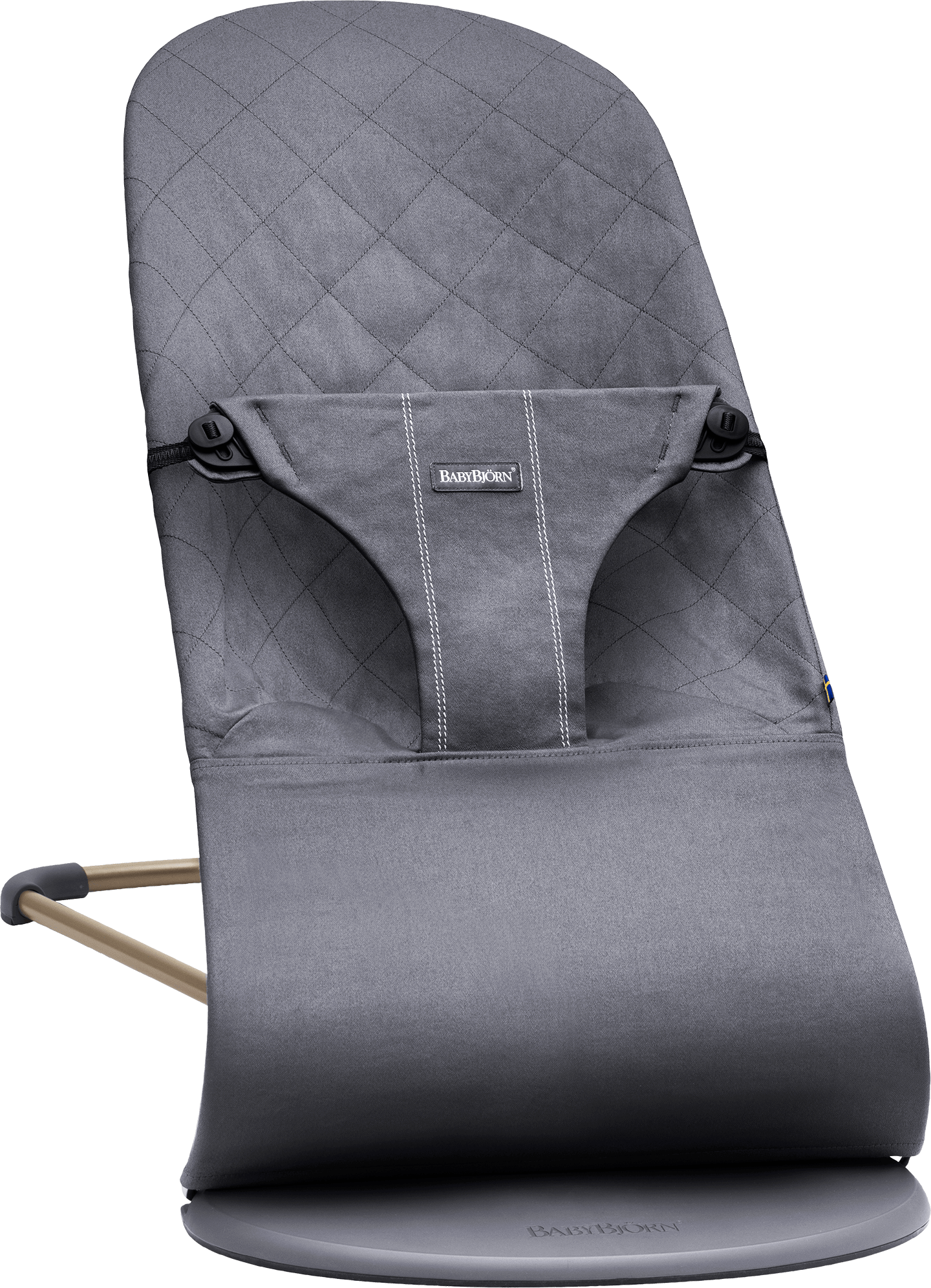 BABYBJÖRN Bouncer Bliss in anthracite cotton, an ergonomic and cozy baby bouncer with gentle rocking.