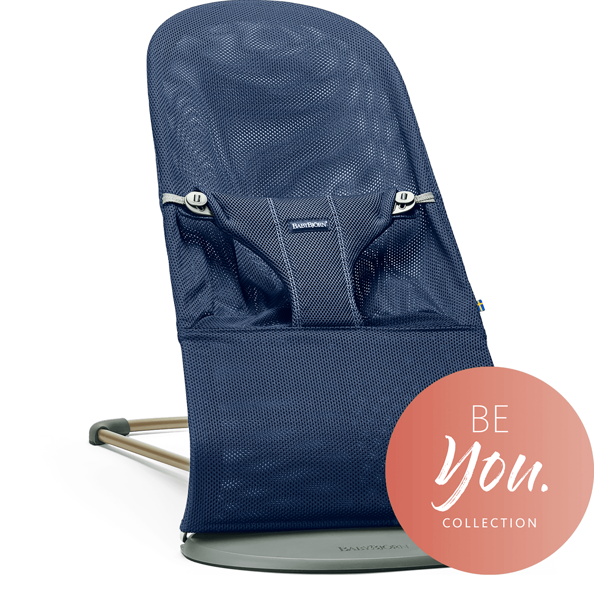 BABYBJÖRN Bouncer Bliss in navy blue mesh, an ergonomic and cozy baby bouncer with gentle rocking.