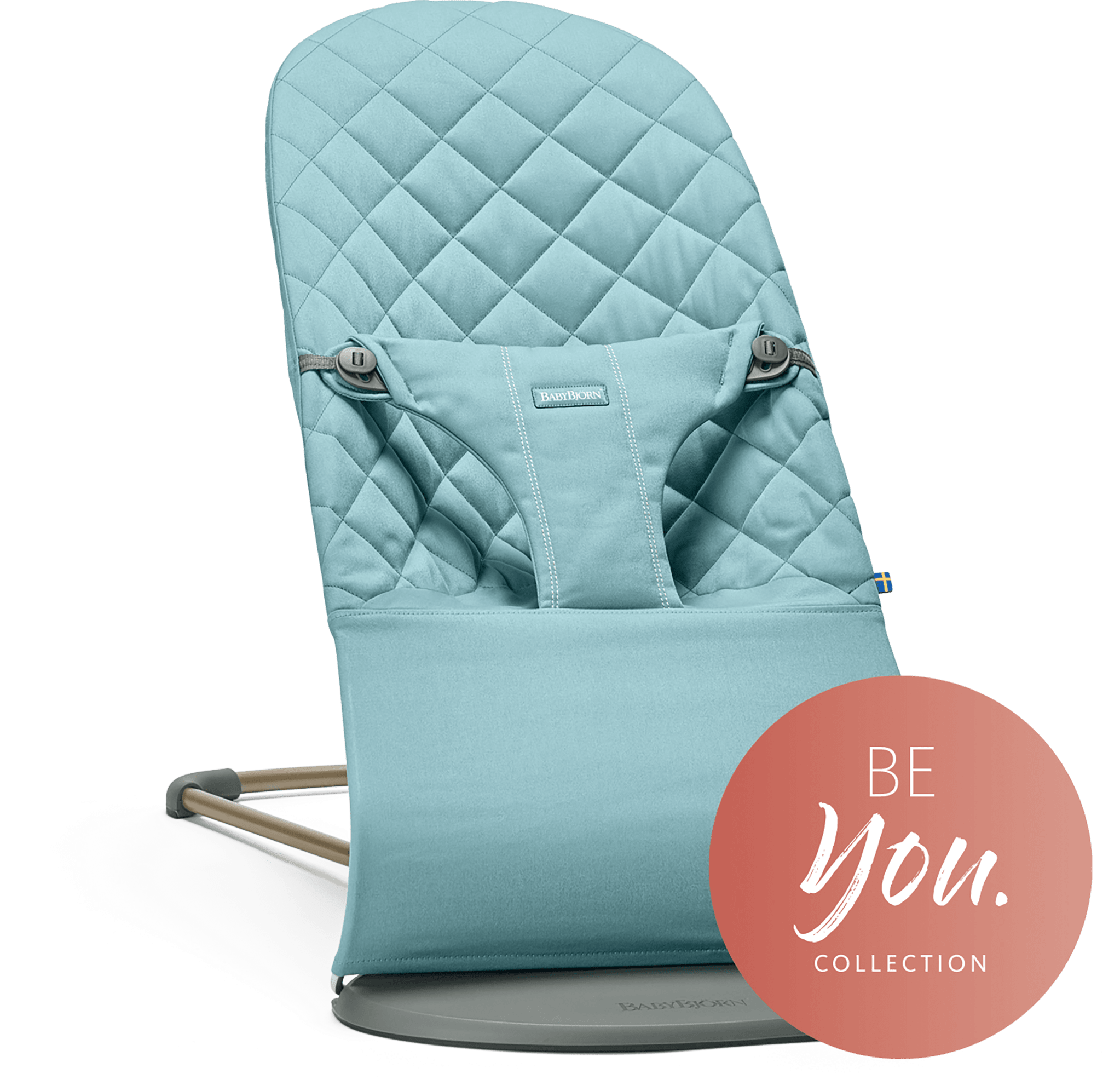BABYBJÖRN Bouncer Bliss in vintage turquoise cotton, an ergonomic and cozy baby bouncer with gentle rocking.