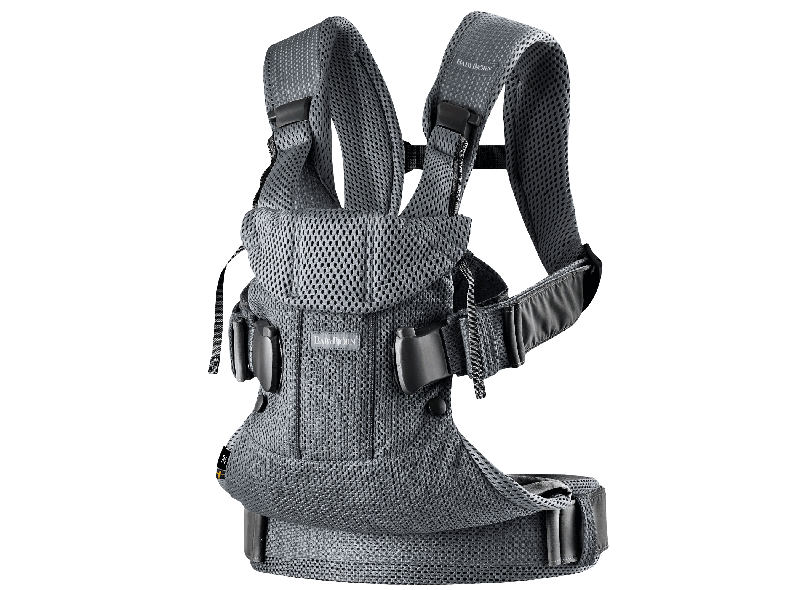 Baby Carrier One Air in anthracite mesh, an ergonomic, soft and flexible baby carrier that can be used from new born to 3 years old, including front facing and back carrying.
