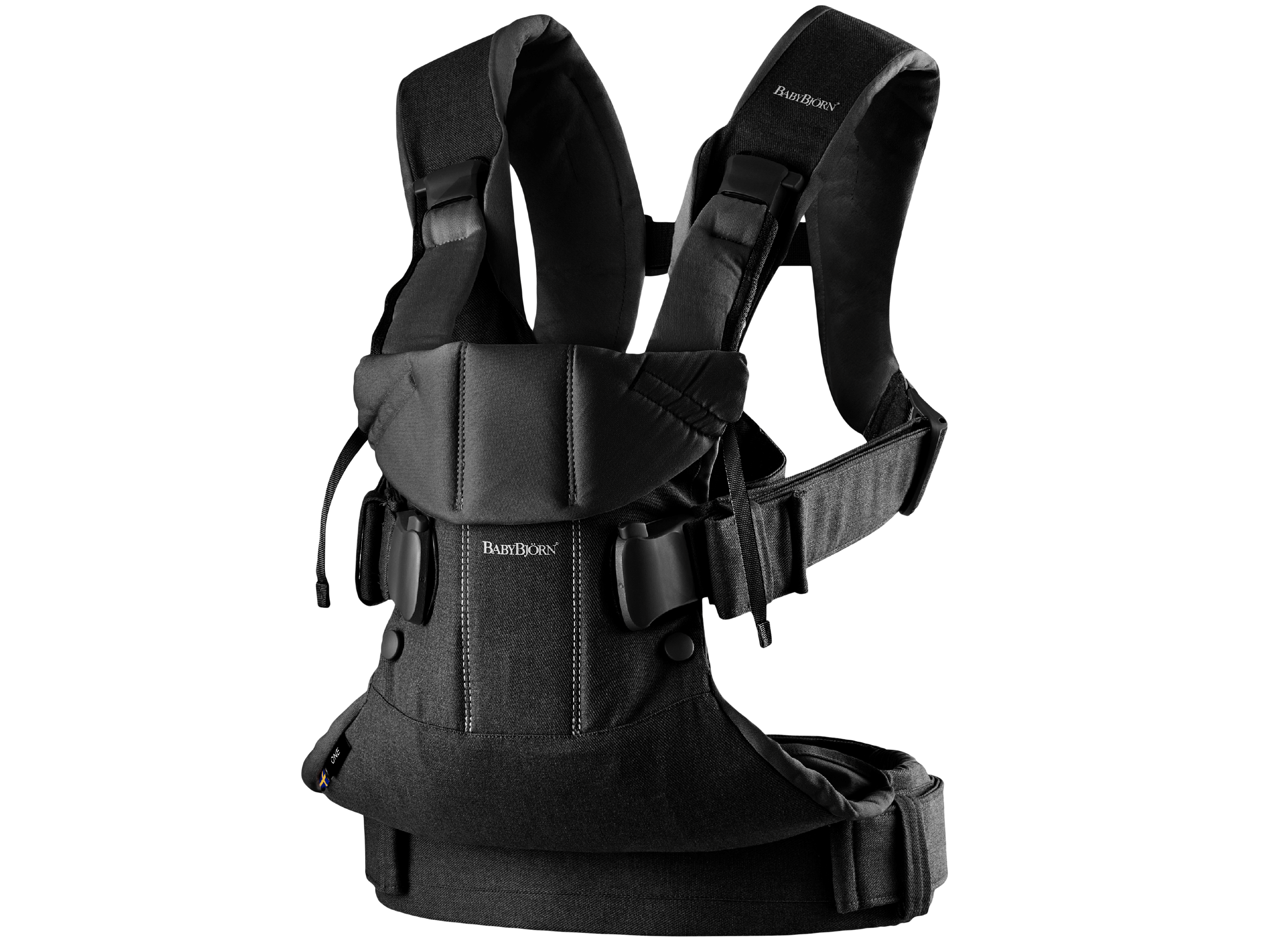 Baby Carrier One Air in black cotton mix, an ergonomic, soft and flexible baby carrier that can be used from new born to 3 years old, including front facing and back carrying.