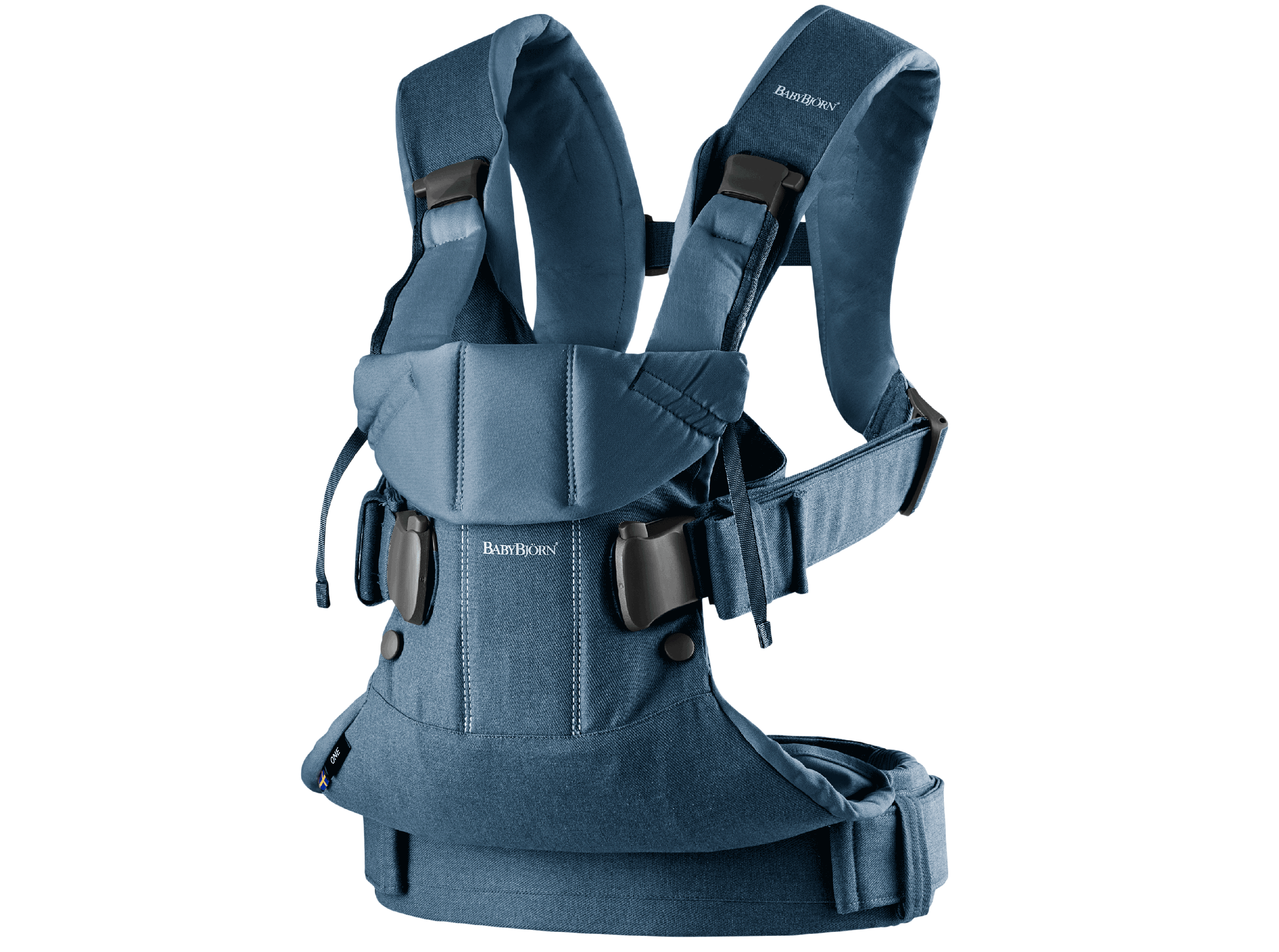 Baby Carrier One in blue denim and midnight blue cotton mix, an ergonomic, soft and flexible baby carrier that can be used from new born to 3 years old, including front facing and back carrying.