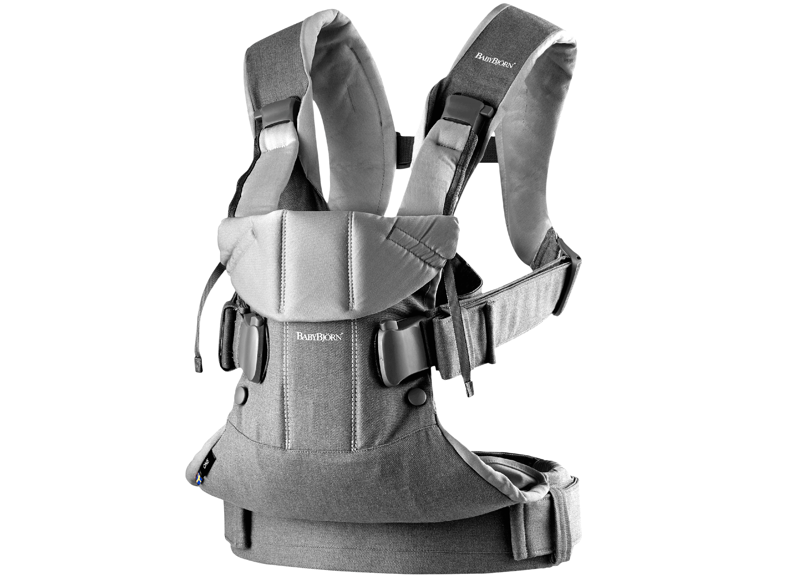 Baby Carrier One in gray denim and dark gray cotton mix, an ergonomic, soft and flexible baby carrier that can be used from new born to 3 years old, including front facing and back carrying.
