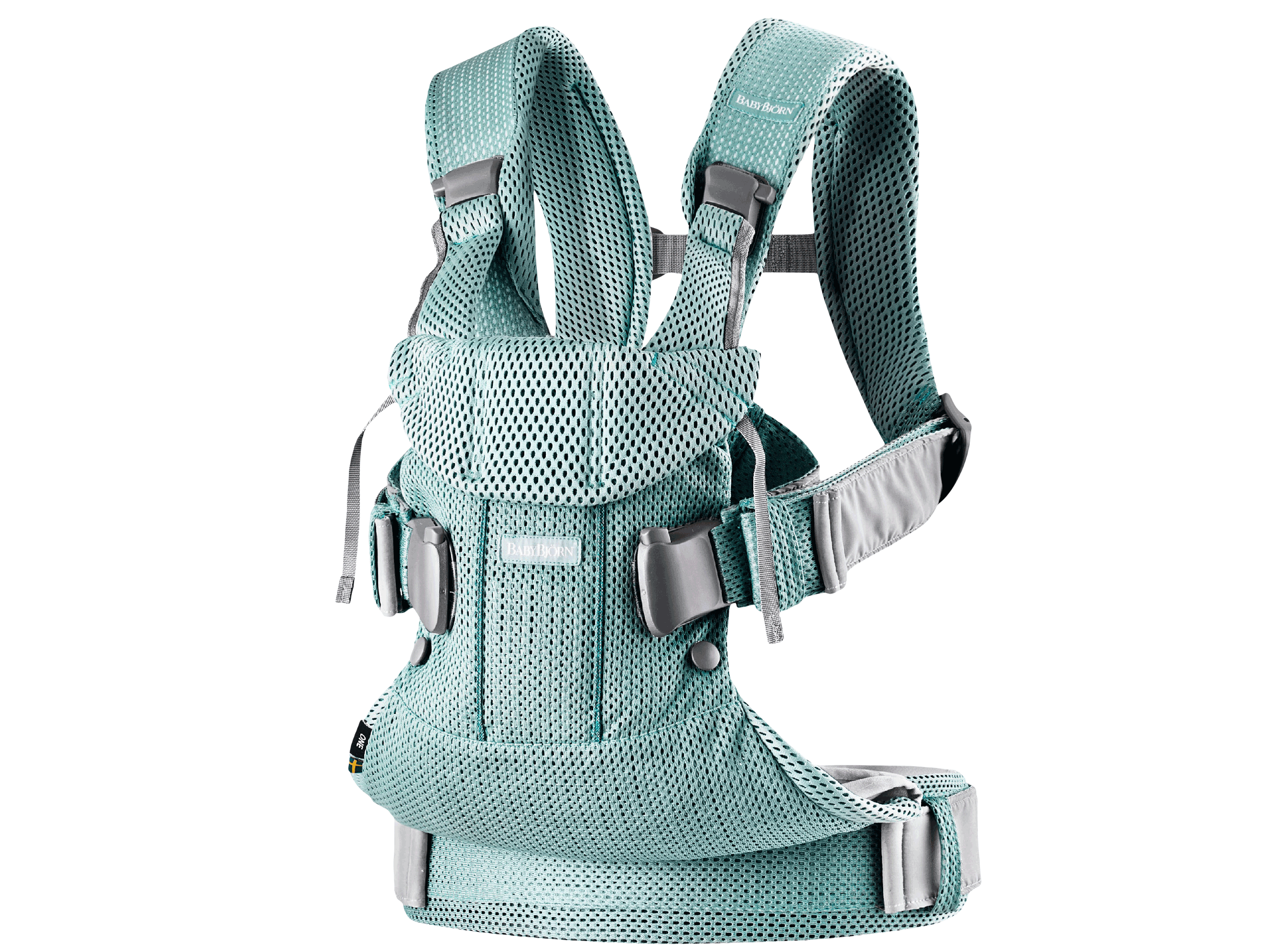 Baby Carrier One Air in frost green mesh, an ergonomic, soft and flexible baby carrier that can be used from new born to 3 years old, including front facing and back carrying.
