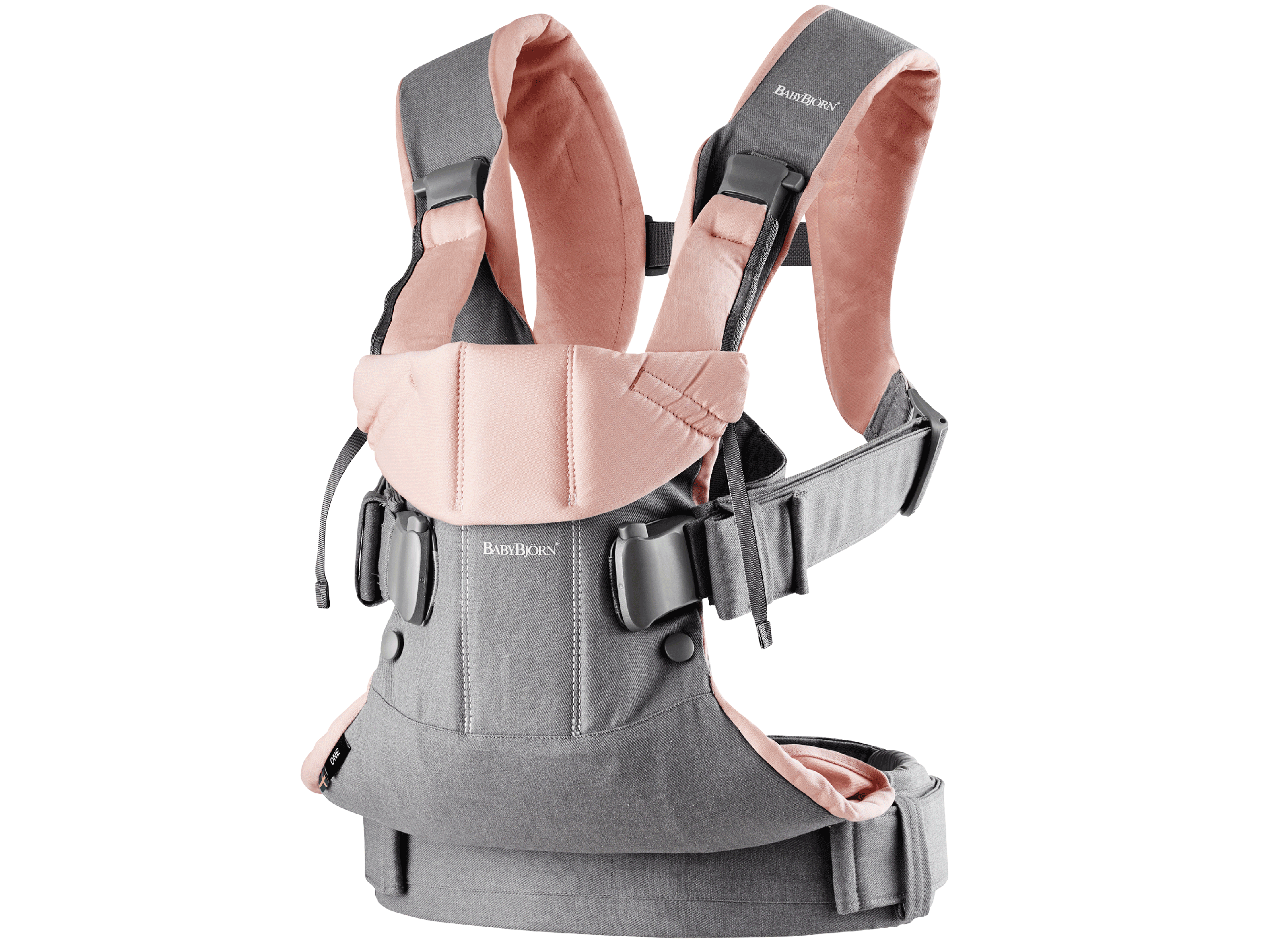 Baby Carrier One in gray and powder pink cotton mix, an ergonomic, soft and flexible baby carrier that can be used from new born to 3 years old, including front facing and back carrying.