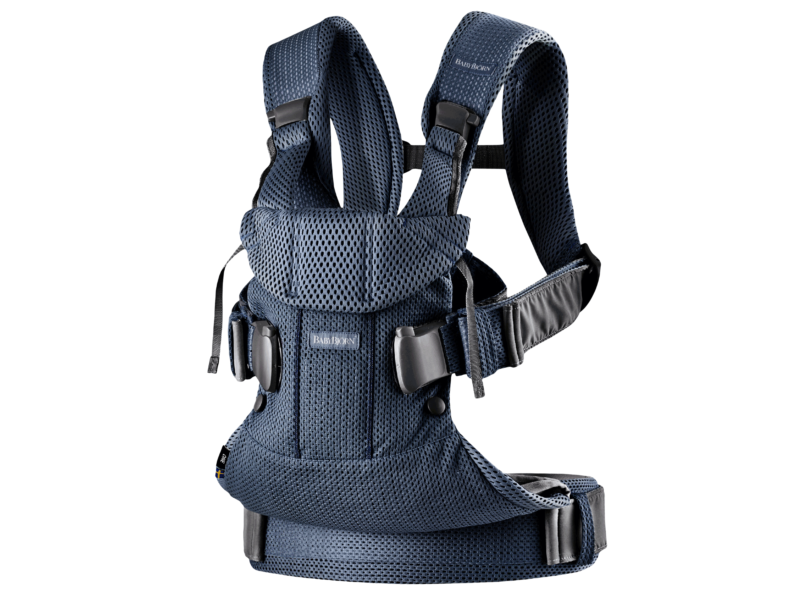 Baby Carrier One Air in navy blue mesh, an ergonomic, soft and flexible baby carrier that can be used from new born to 3 years old, including front facing and back carrying.