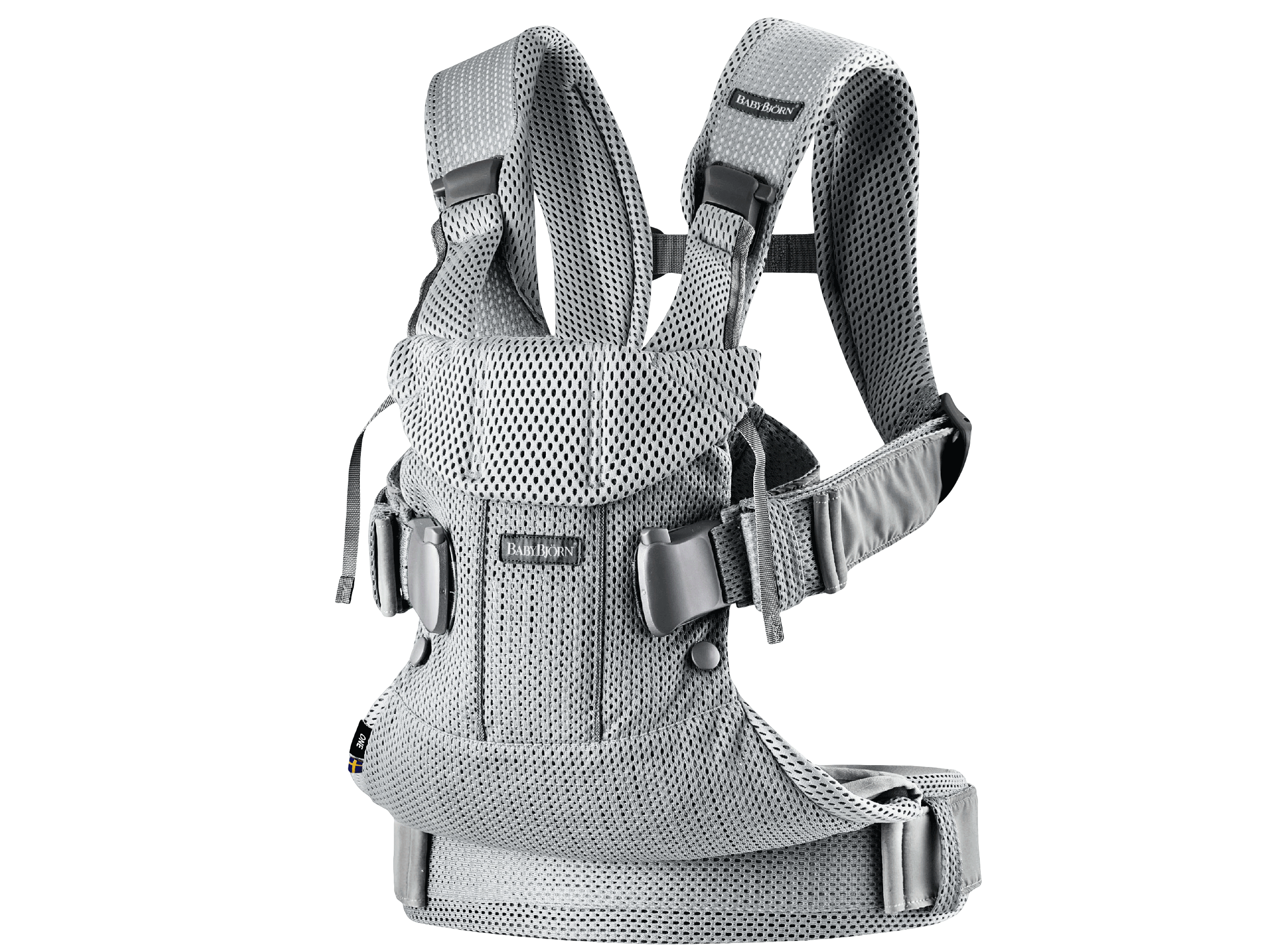 Baby Carrier One Air in silver mesh, an ergonomic, soft and flexible baby carrier that can be used from new born to 3 years old, including front facing and back carrying.