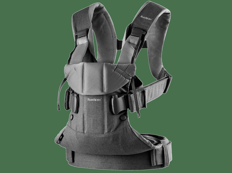 Bärsele One i grå denim och mörkgrå cotton mix, en ergonomisk, mjuk och flexibel bärsele som kan användas från nyfödd till 3 år, även framåtvänt och ryggbärande.