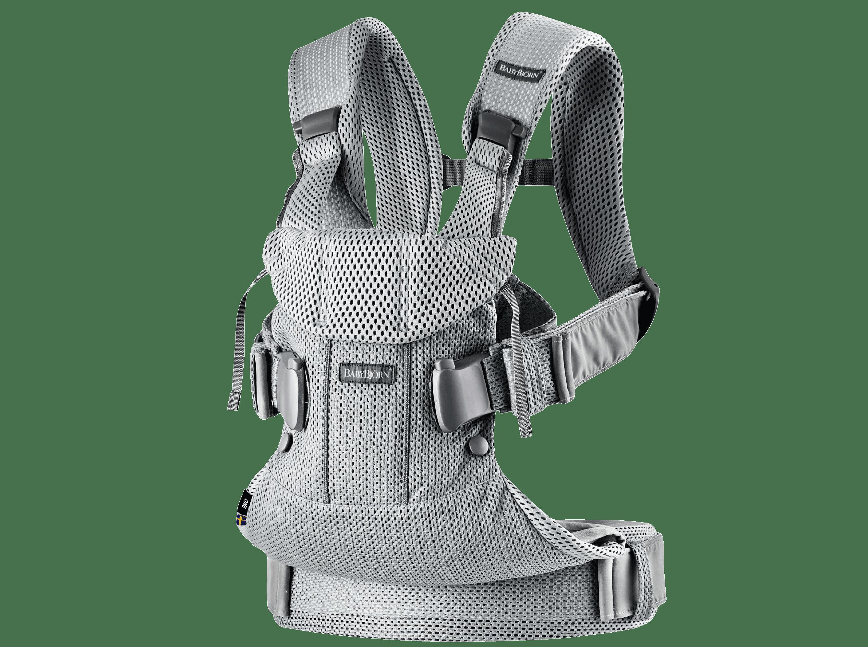 Bärsele One i silver mesh, en ergonomisk, mjuk och flexibel bärsele som kan användas från nyfödd till 3 år, även framåtvänt och ryggbärande.