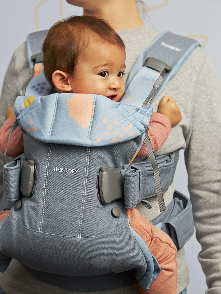 BABYBJÖRN Baby Carrier One – Dove blue/Confetti, Cotton Mix