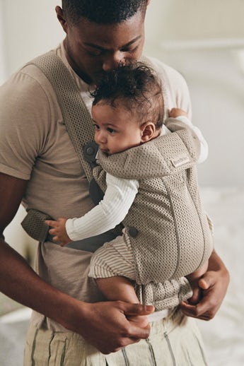 Baby Carrier Mini in Grey Beige 3D Mesh, perfect for newborns, both soft and airy