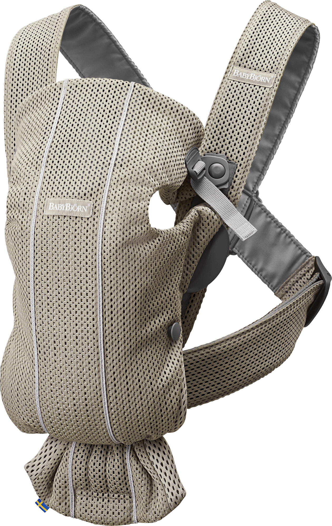 BABYBJÖRN Baby Carrier Mini, Greige, 3D Mesh, perfect first baby carrier for a newborn.