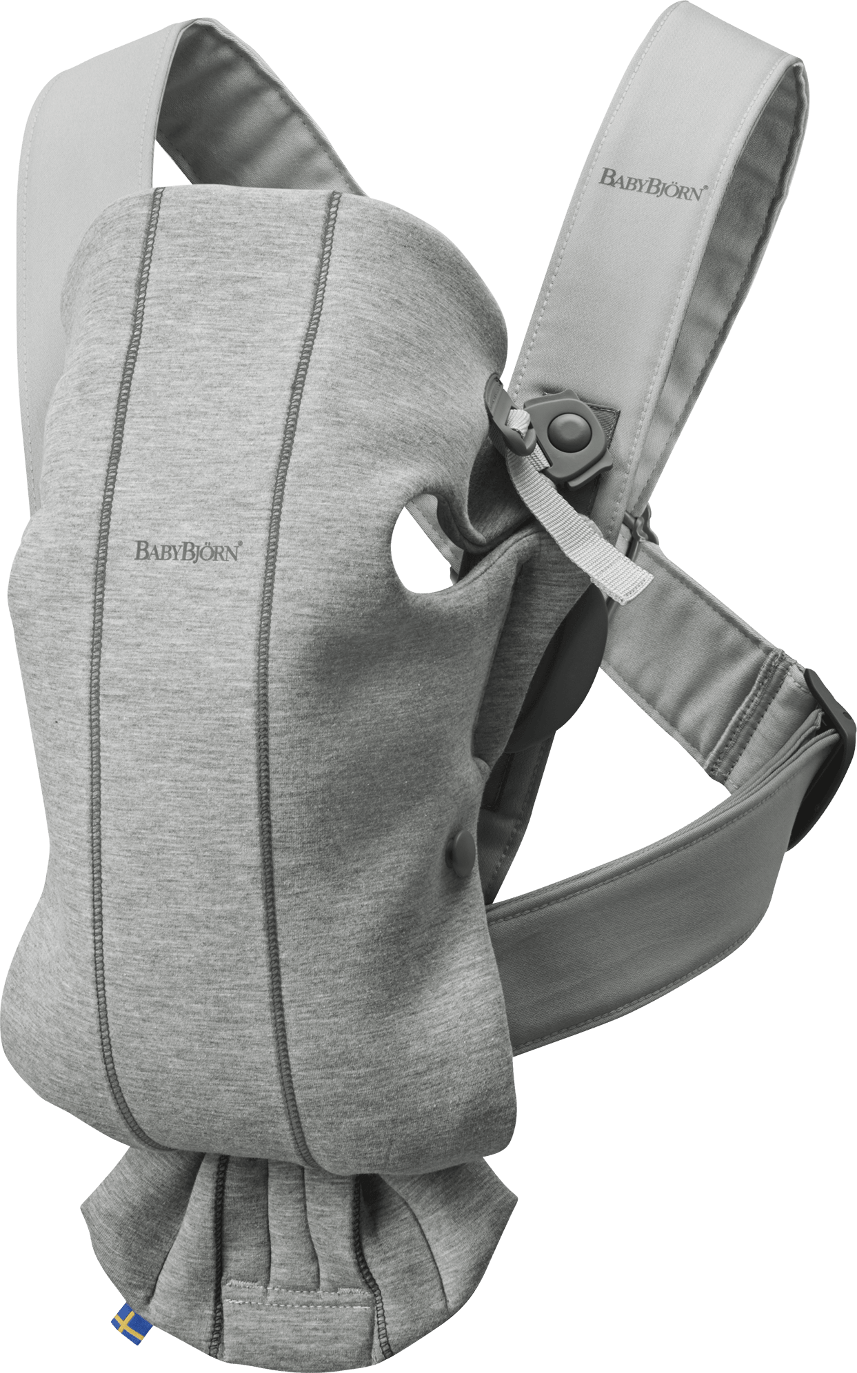 BABYBJÖRN Baby Carrier Mini, Light grey, 3D Jersey, perfect first baby carrier for a newborn.